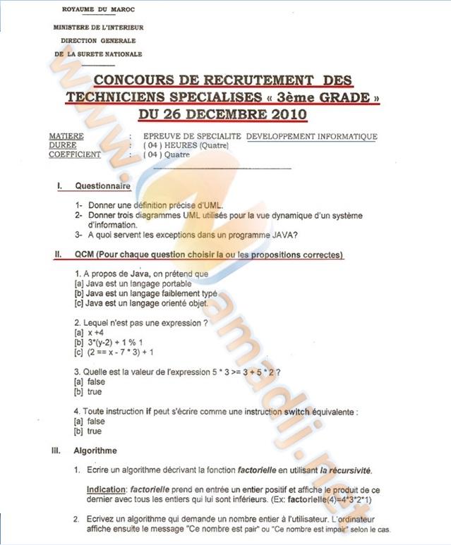concours de recrutement des techniciens spécialises 3ème grade du 26 décembre 2010