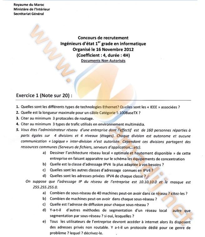 Ingénieurs d'état 1er grade en informatique Ministère de l'intérieur