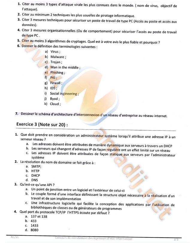 Ingénieurs d'état 1er grade en informatique Ministère de l'intérieur 2
